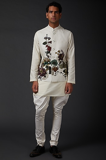 Ivory Bundi Jacket With Digital Print by Rohit Bal Men