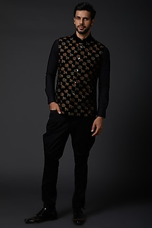 Black Embroidered Bundi Jacket by Rohit Bal Men