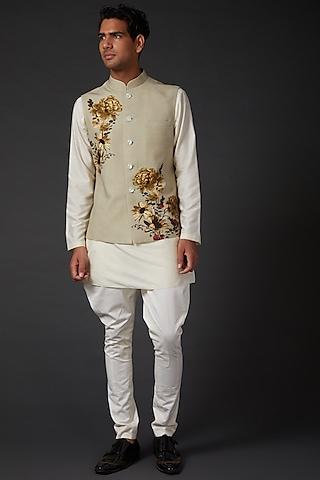 Beige Digital Printed Bundi Jacket by Rohit Bal Men