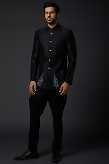 Indigo Blue Chanderi Shibori Bandhgala Jacket by Rohit Bal Men