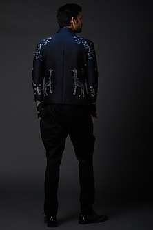 Indigo Blue Embroidered Bandhgala Jacket by Rohit Bal Men