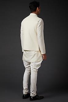 Ivory Bundi Jacket With Print by Rohit Bal Men