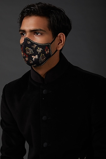 Indigo Blue Embroidered Mask In Linen by Rohit Bal Men