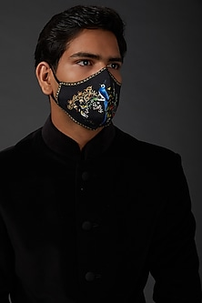Indigo Blue Mask With Embroidery by Rohit Bal Men
