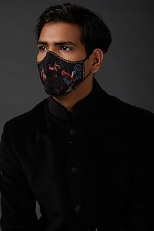 Indigo Blue Mask With Kantha Embroidery by Rohit Bal Men
