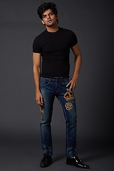 Midnight Blue Crown Embroidered Jeans by Rohit Bal Men