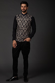 Indigo Blue Bundi Jacket In Linen by Rohit Bal Men