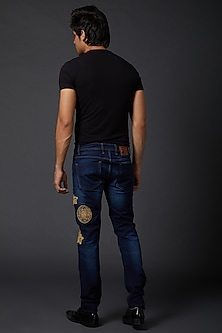 Midnight Blue Jesus Sign Embroidered Jeans by Rohit Bal Men