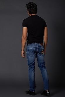 Midnight Blue Small Crown Embroidered Jeans by Rohit Bal Men