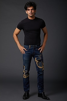 Midnight Blue Reindeer Embroidered Jeans by Rohit Bal Men