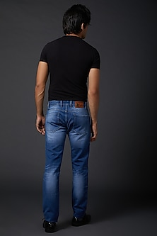 Midnight Blue Embroidered Jeans by Rohit Bal Men