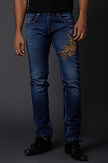 Midnight Blue Tiger Embroidered Jeans by Rohit Bal Men