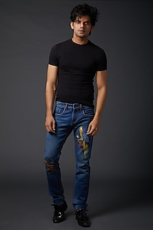 Midnight Blue Bird Embroidered Jeans by Rohit Bal Men
