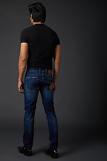Midnight Blue Small Cross Jeans by Rohit Bal Men