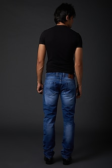 Midnight Blue Parrot Embroidered Jeans by Rohit Bal Men