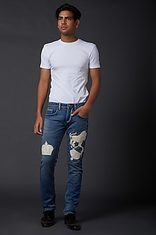 Midnight Blue Printed Jeans by Rohit Bal Men