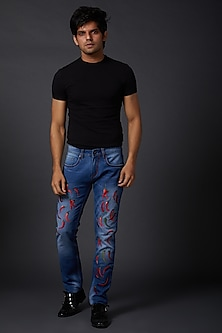 Midnight Blue Chilli Printed Jeans by Rohit Bal Men