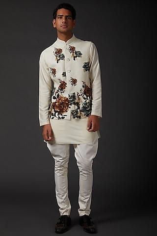 Ivory Printed Matka Bundi Jacket by Rohit Bal Men