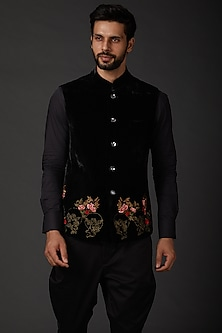 Black Matka Silk Bundi Jacket by Rohit Bal Men