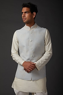 Light Blue Embroidered Bundi Jacket by Rohit Bal Men