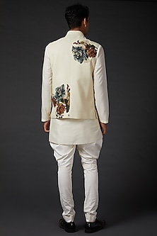 Ivory Printed Bundi Jacket by Rohit Bal Men