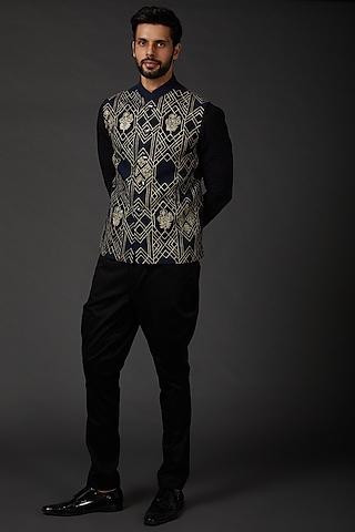 Indigo Blue Embroidered Bundi Jacket by Rohit Bal Men