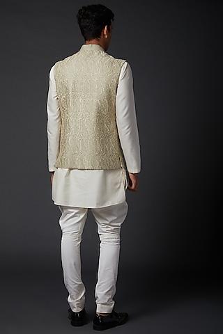 Beige Machine Embroidered Bundi Jacket by Rohit Bal Men