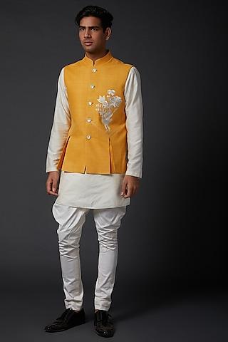 Yellow Embroidered Bundi Jacket by Rohit Bal Men