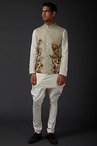 Ivory Printed Bundi Jacket by Rohit Bal Men