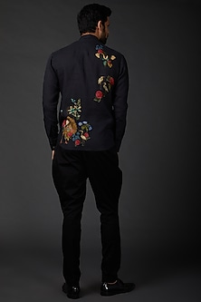 Indigo Blue Digital Printed Shirt by Rohit Bal Men