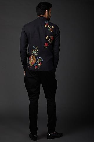 Indigo Blue Digital Printed Shirt by Rohit Bal Men