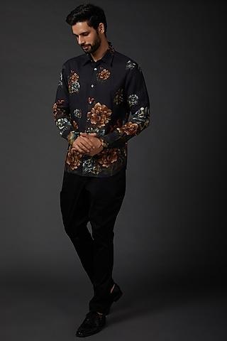 Indigo Blue Printed Shirt by Rohit Bal Men