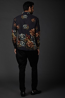 Indigo Blue Printed Shirt by Rohit Bal Men