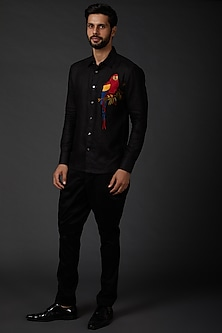 Black Digital Printed Shirt by Rohit Bal Men