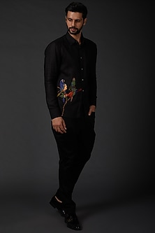Black Printed Linen Shirt by Rohit Bal Men