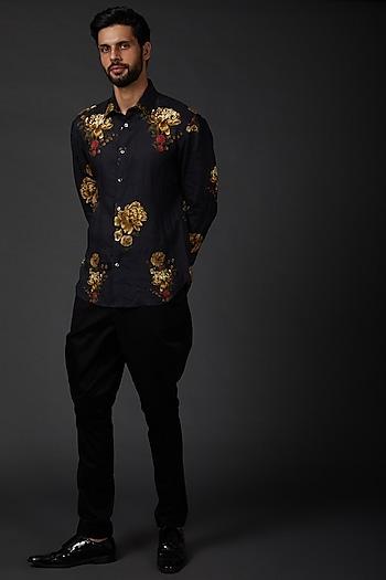 Indigo Blue Printed Linen Shirt by Rohit Bal Men