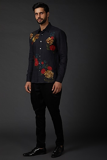 Indigo Blue Shirt With Digital Print by Rohit Bal Men