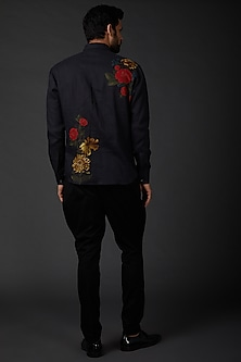 Indigo Blue Shirt With Digital Print by Rohit Bal Men