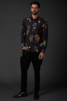 Indigo Blue Shirt With Print by Rohit Bal Men