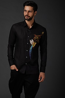 Black Machine Embroidered Shirt by Rohit Bal Men