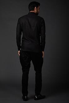 Black Machine Embroidered Shirt by Rohit Bal Men