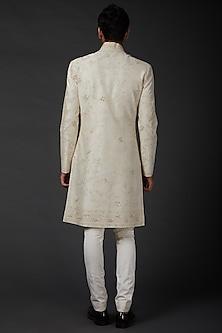Ivory Chanderi Sherwani by Rohit Bal Men