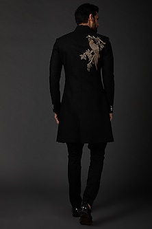Black Sherwani In Matka Silk by Rohit Bal Men