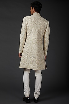 Ivory Sherwani In Matka Silk by Rohit Bal Men