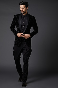 Black Silk Velvet Jacket by Rohit Bal Men