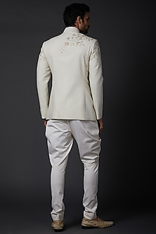 Ivory Matka Silk Bandhgala Jacket by Rohit Bal Men