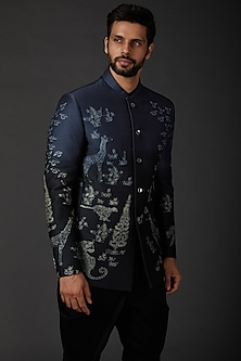 Indigo Blue Shibori Bandhgala Jacket by Rohit Bal Men