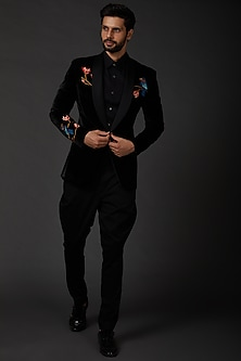 Black Embroidered Silk Velvet Jacket by Rohit Bal Men