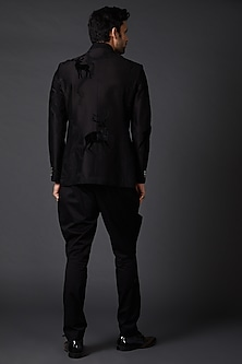 Black Embroidered Velvet Bandhgala Jacket by Rohit Bal Men