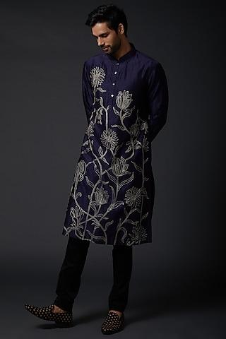 Indigo Blue Machine Embroidered Kurta Set by Rohit Bal Men
